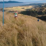 Runner Rob Willetts approaches one of the blue poles on the upper slopes