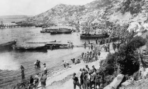 New Zealand troops on the tiny beach at Anzac Cove