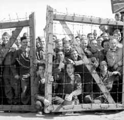 First British prisoners liberated from a POW camp in German, April 1945