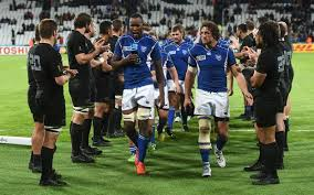 The All Blacks applaud as the brave Namibians leave the field