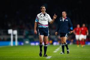 Craig Joubert calls on the TMO in the France v Italy game