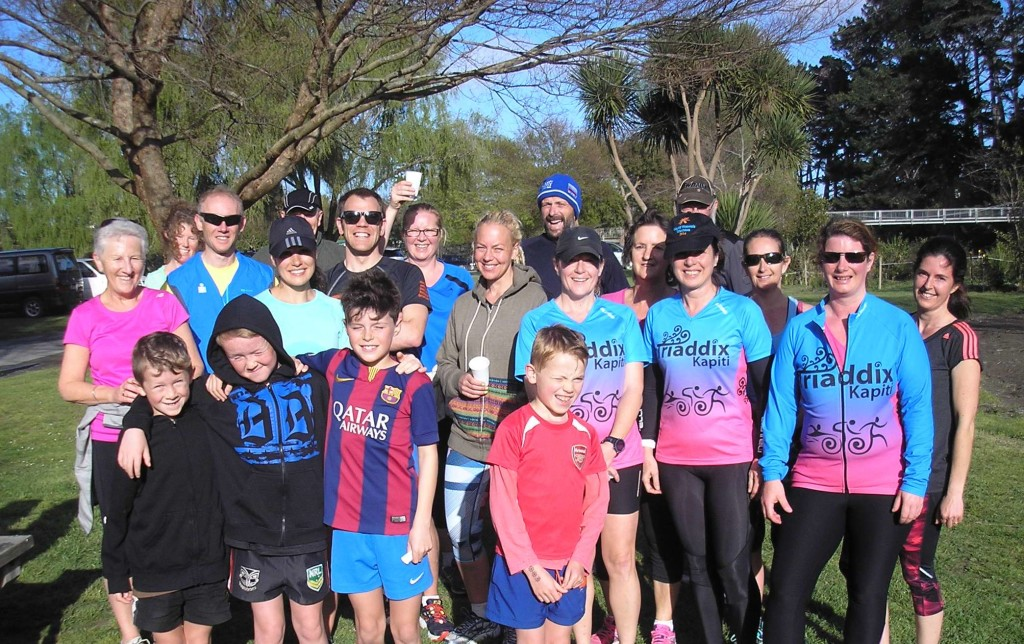 A happy band of park run finishers at the Otaihanga Domain!