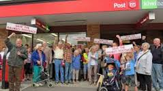 Protesting about the closure of the Raumati Post Shop