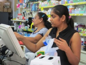 Dignaben Patel and Grandmother Patel (Greetaben) serving at the Raumati Beach FourSquare store