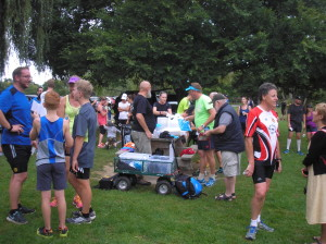 Finishers enjoying the friendly post-race atmosphere and refreshments