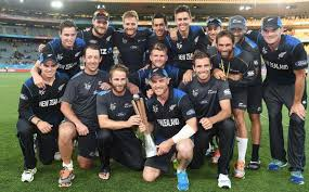 Black Caps with the Chappell-Hadlee Trophy