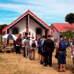 Visitors arrive for official Maori welcome on the Marae