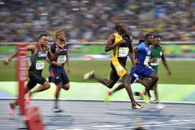 Bolt powering away in the last 10 metres to win his third 100m golds