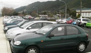 Commuter cars at present-day parks near Waikanae Station