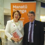 Ian McGibbon with Maggie Barry, minister for Culture and Heritage