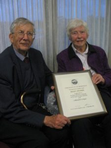 Helen and Tony Froude with Helen's Life Membership certificate.