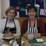 Maggie Salter, on the left, at a calligraphy workshop