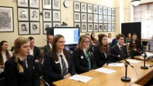 Students at a parliamentary select committee