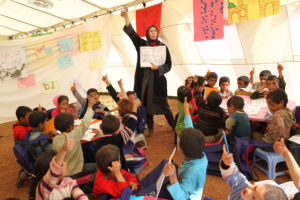 Syrian refugees getting schooling in Lebanon.